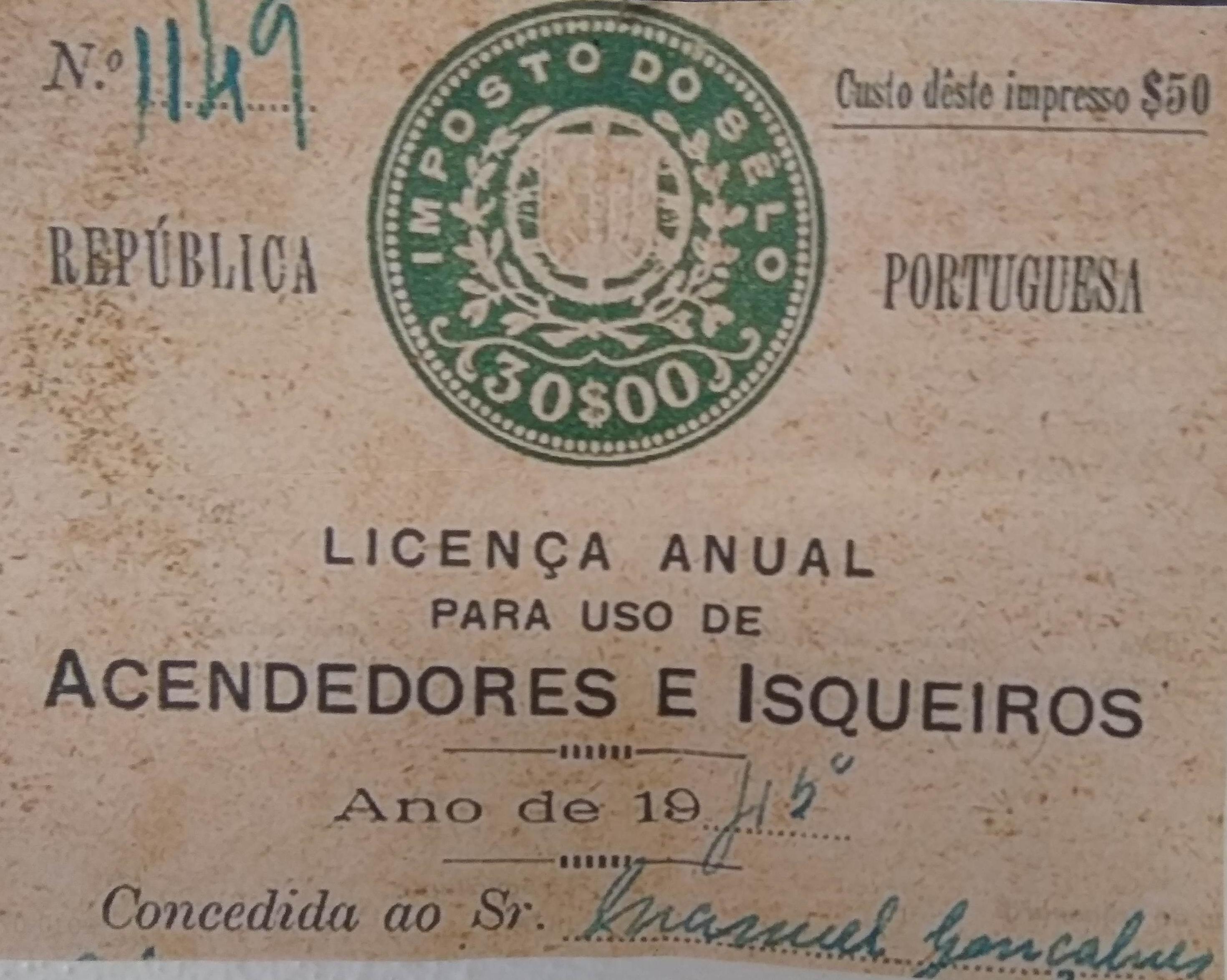 Licença Anual para Uso de Acendedores e Isqueiros